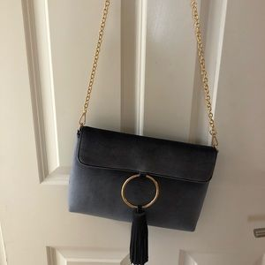 Anthropologie navy velvet crossbody